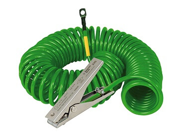 green earthing cable with clamp