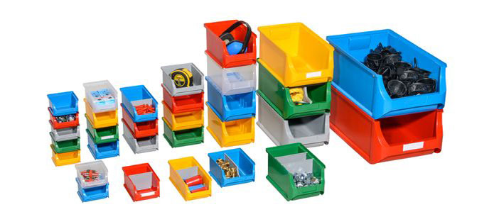 Open-fronted storage and shelf bins